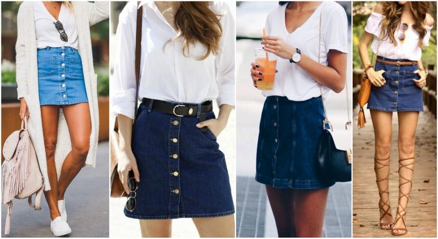 Tendência 2018  veja como usar saia jeans com botões e525d36b8d830