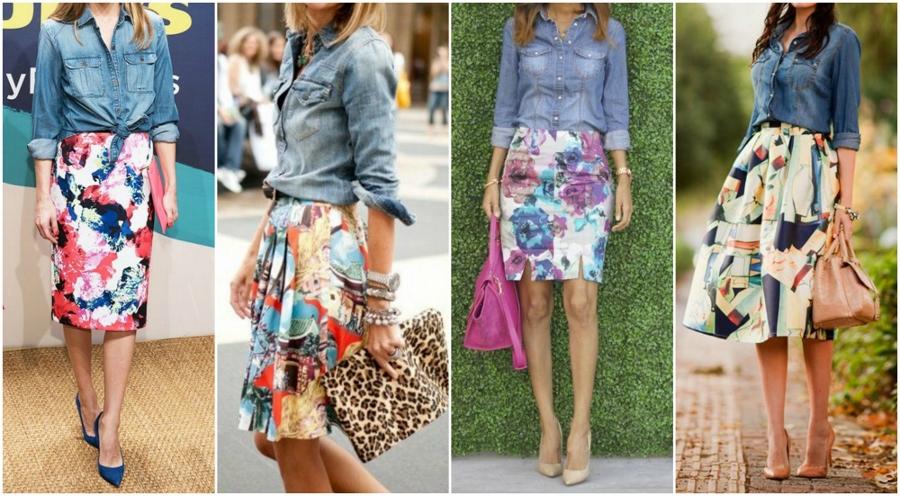 Quatro looks com camisa jeans e saia estampada: todas com estampa floral.
