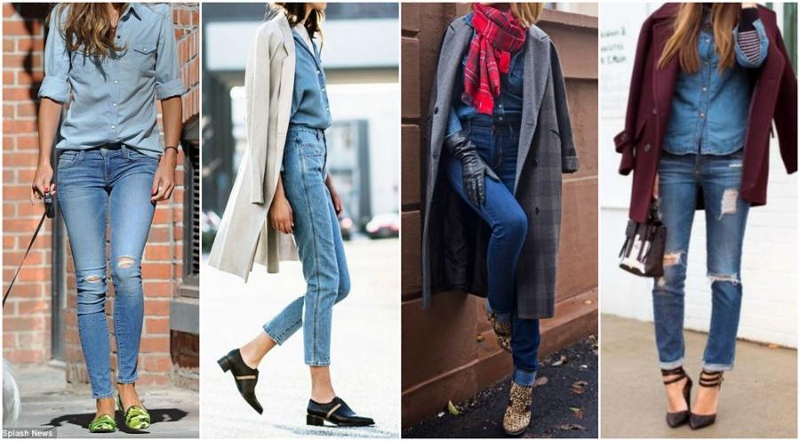 Quatro looks com camisa jeans e calça jeans e acessórios diferentes, como calçados estampados e casacos coloridos