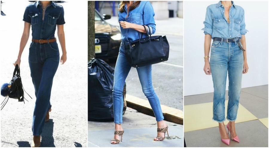 Três looks que combinam jeans com jeans, todos com a mesma tonalidade de denim, tanto na camisa quanto na calça