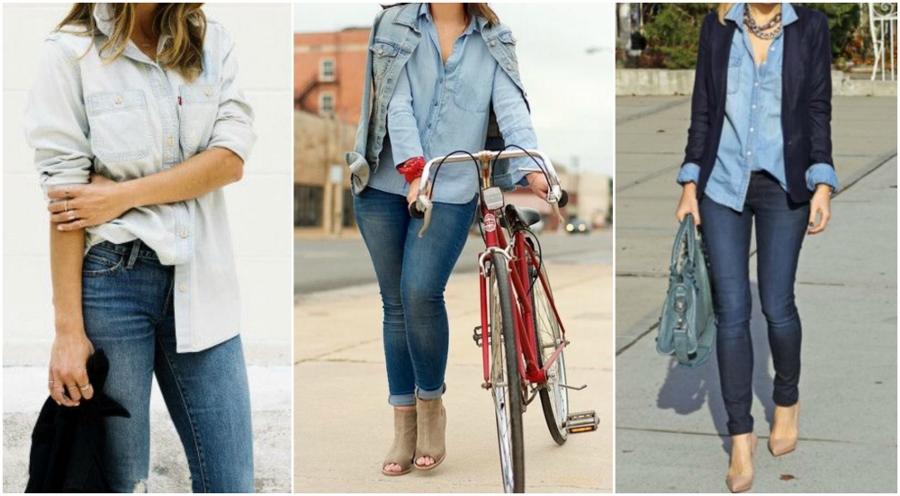 Três looks combinando jeans com jeans, sendo os tons contrastantes. Claro em cima e escuro embaixo e vice-versa