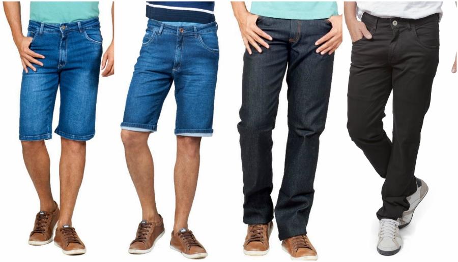 Duas bermudas jeans tradicionais e duas calças, uma com denim bem escuro e a outra black. Dicas de presentes para o Dia dos Namorados.