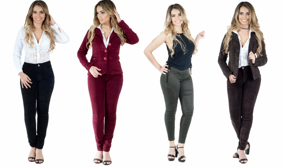 Três looks com calças de veludo nos tons preto, vinho e marrom e um look com calça skinny verde musgo. Ideias de presentes para o Dia das Mães.