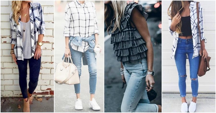 Camisa xadrez nos tons branco e preto é um jeito de deixar o look Festa Junina mais elegante.