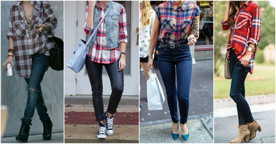 Camisa xadrez mais larga compõe look balanceado com skinny jeans.