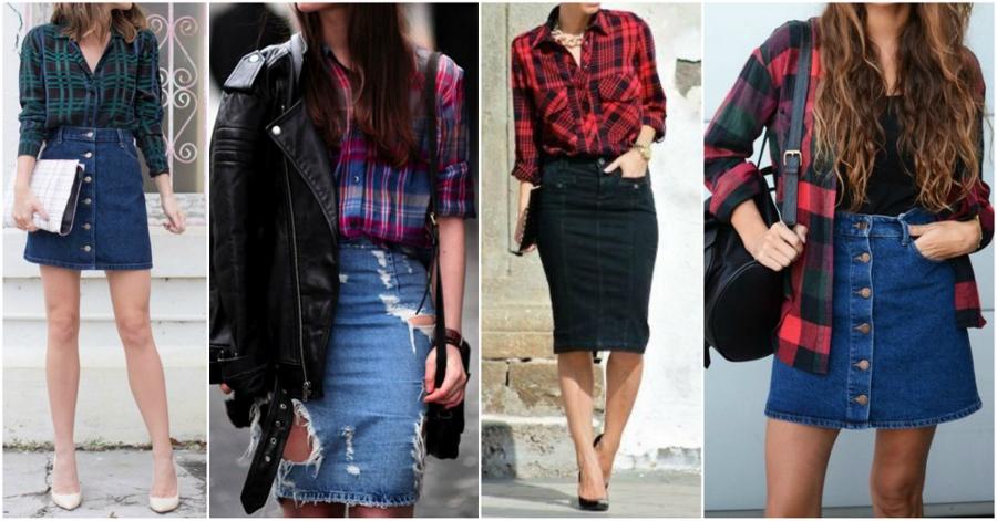 Quatro looks com saia jeans e camisa xadrez para usar na Festa Junina