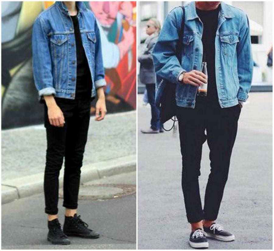 Dois looks com homens usando black jeans e camisetas pretas com jaqueta jeans