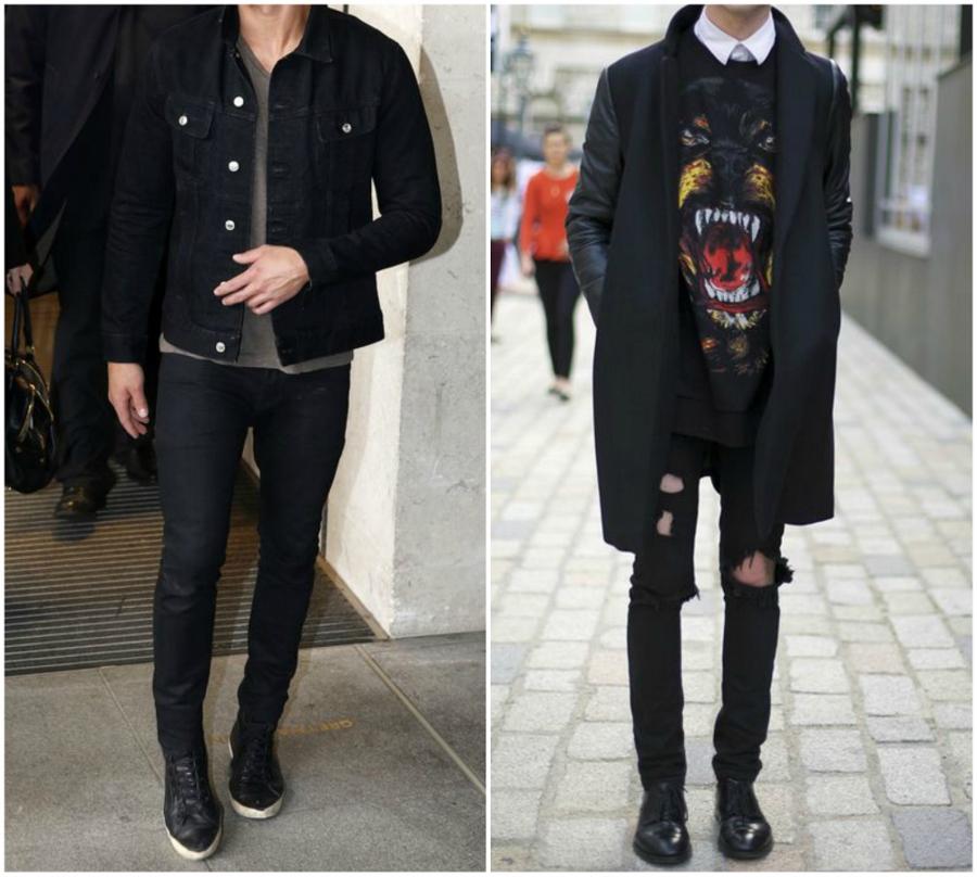 Homens usando look total black. O da esquerda com jaqueta jeans, o da direita com sobretudo.