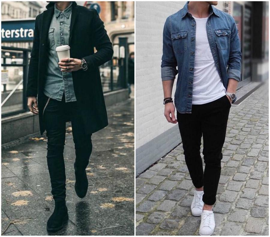 Homem usando calça, botas e casaco pretos com camisa jeans azul. Na direita, homem veste jeans preto com camiseta e tênis brancos e camisa jeans aberta por cima