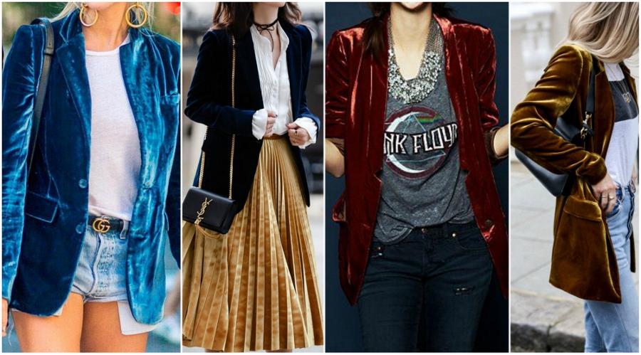 Quatro looks com blazer de veludo. Use-o com jeans e camiseta por baixo para deixar o visual mais informal