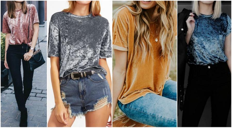 Para quem não está acostumada a usar veludo, mas quer arriscar a tendência, uma dica é ir de camiseta do tecido