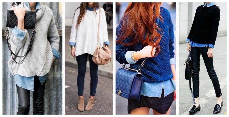 Camisa jeans por baixo de suéter: fashion e quentinho.