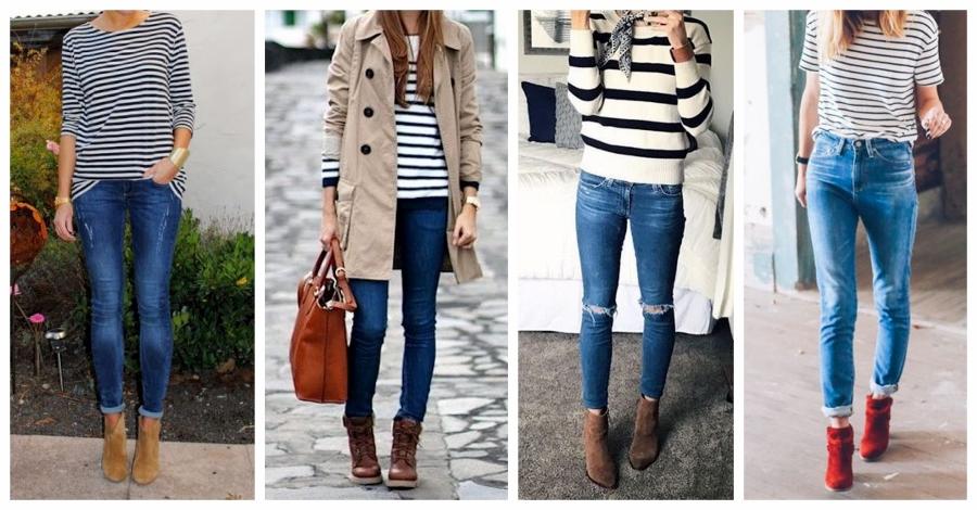 Arremate seu look jeans e ankle boot com uma blusa listrada.