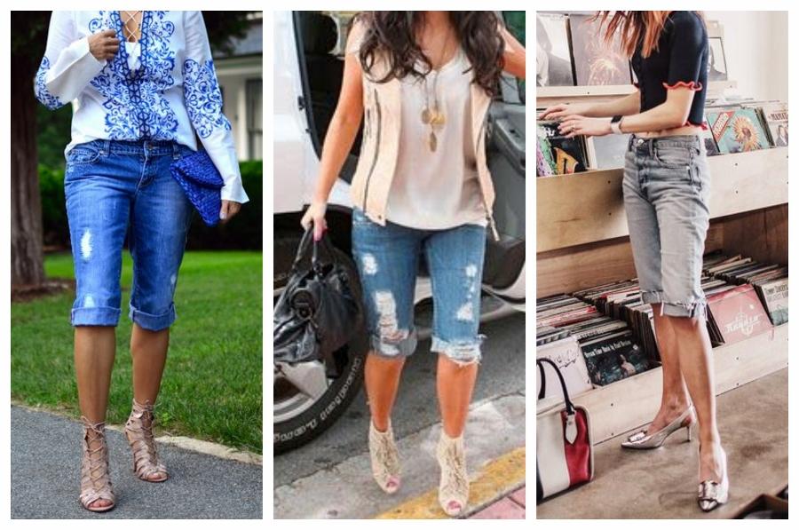 O modelo de bermuda jeans levemente mais comprido está na moda.