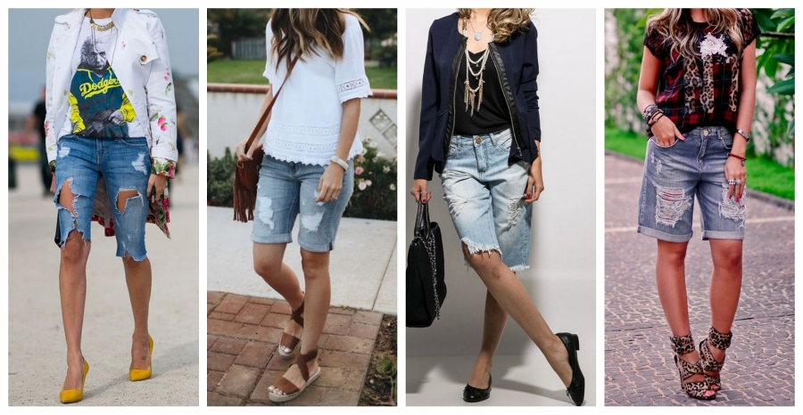 Quer acrescentar personalidade a sua bermuda jeans? Escolha um modelo com rasgadinhos, que ainda estão super em alta.