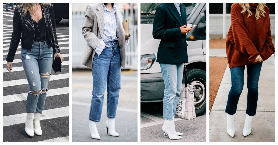 Quatro looks com jeans e bota branca.