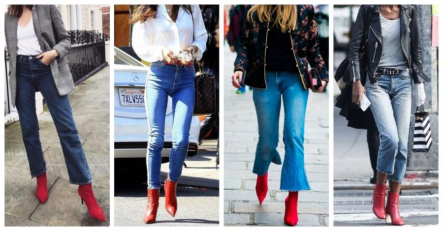 Looks com bota vermelha e jeans