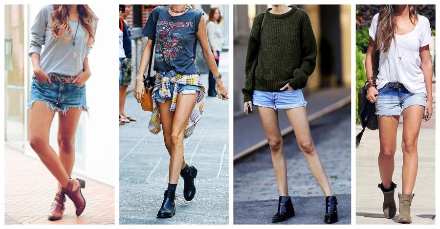 Ao usar shorts com bota, privilegie combinar o shorts com uma ankle boot.