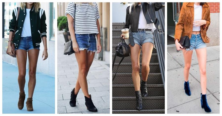Combine seu shorts com bota e uma camiseta básica. Por cima, uma jaqueta descolada.