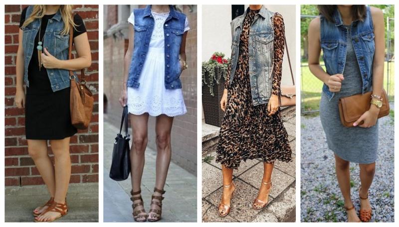 Experimente colocar o seu colete jeans sobre um vestido.