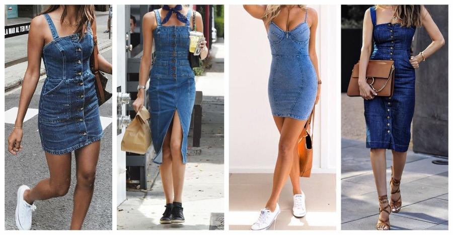 O vestido jeans mais justo normalmente é feito usando um denim mais grosso.