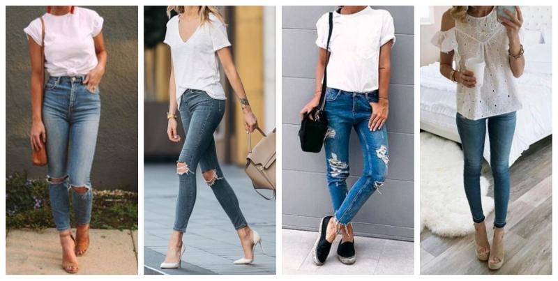 Looks com jeans skinny e camiseta branca são estilosos e confortáveis.