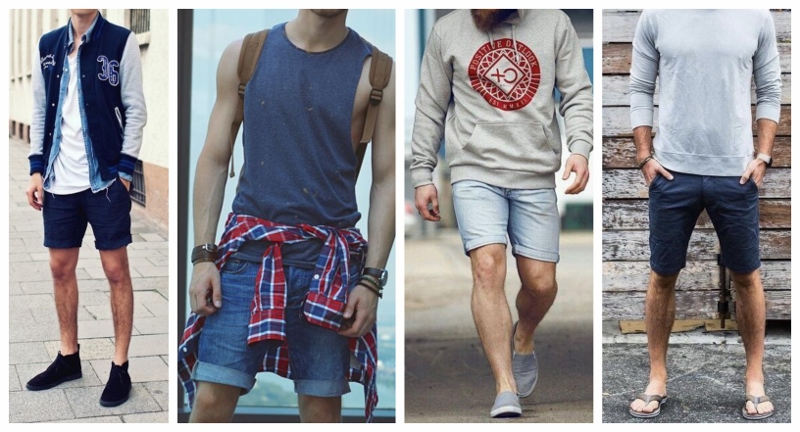 Quatro looks com bermuda jeans masculina.