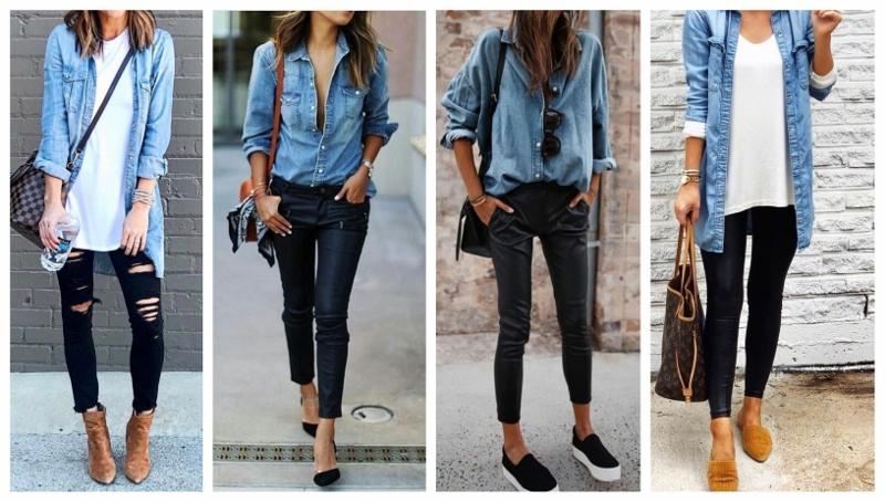 Quatro looks com camisa jeans e calça preta