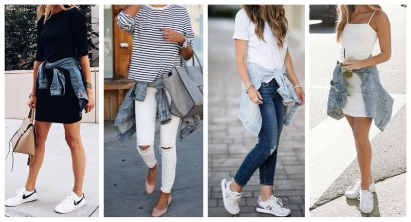 Quatro looks com jaqueta jeans nos quais a peça está amarrada na cintura.