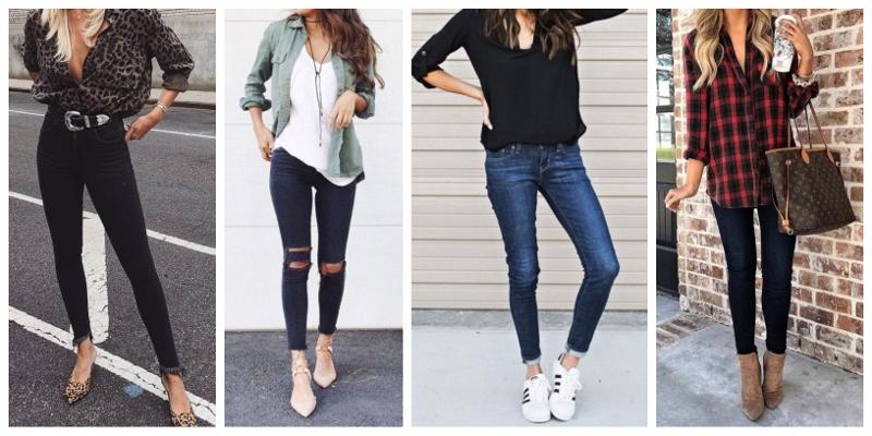 Quatro looks com calça jeans skinny escura.